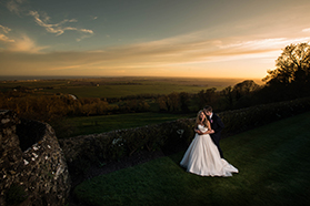 Sunset wedding photography Lympne castle Kent